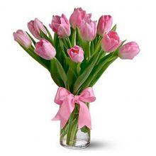 10 Pink Tulips with Vase in Pampanga