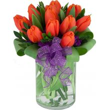 One Dozen Orange Tulips with Glass Vase in Pampanga