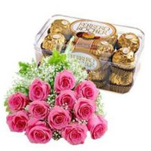 12 Pink Roses with Ferrero Rocher Chocolate Send to Pampanga