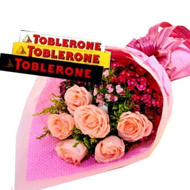 Half Dozen Pink Roses with Toblerone Chocolate