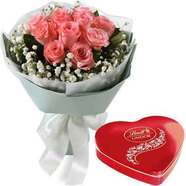 Send 1 Dozen Pink Roses with Lindt Heart Chocolate to Pampanga