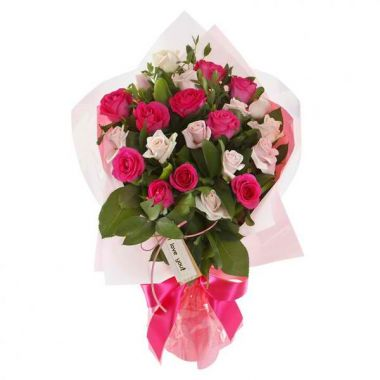 24 Pink & Peach Roses in Bouquet Pampanga