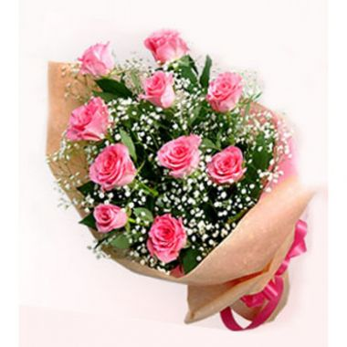 12 Pink Roses in Bouquet Pampanga