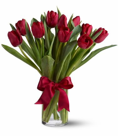 Ten Red Tulips with Glass Vase in Pampanga