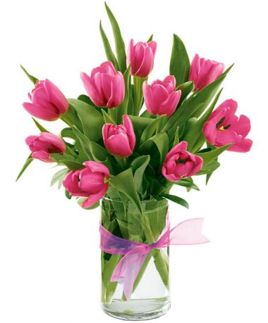 Ten Pink Tulips with Glass Vase in Pampanga